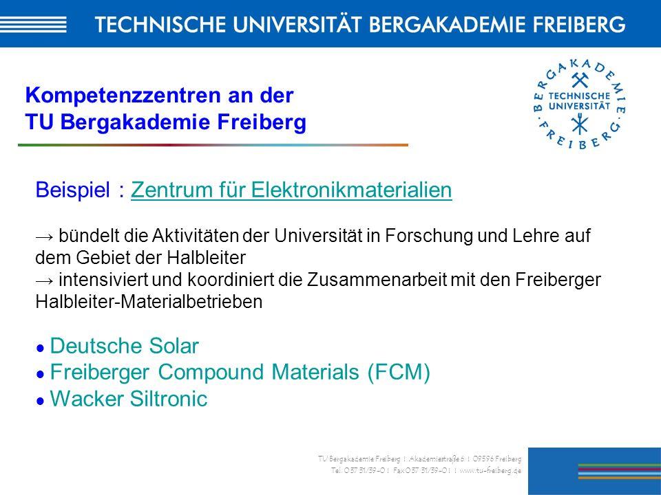 32 TU Bergakademie Freiberg I Akademiestraße 6 I 09596 Freiberg Tel. 0 37 31/39-0 I Fax 0 37 31/39-0 I I www.tu-freiberg.de Beispiel : Zentrum für Ele