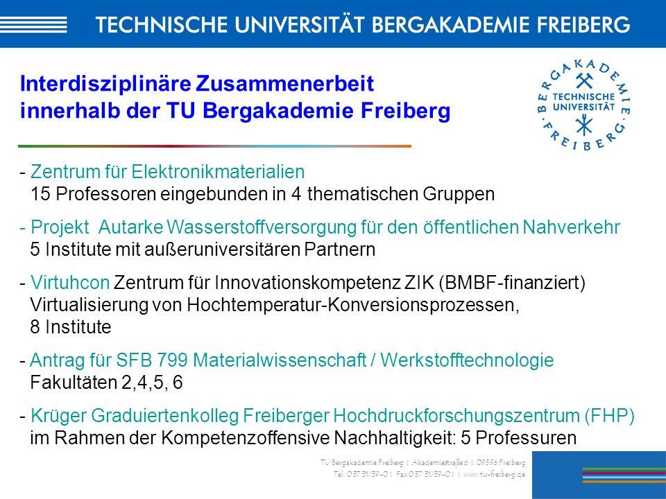 33 TU Bergakademie Freiberg I Akademiestraße 6 I 09596 Freiberg Tel. 0 37 31/39-0 I Fax 0 37 31/39-0 I I www.tu-freiberg.de Interdisziplinäre Zusammen