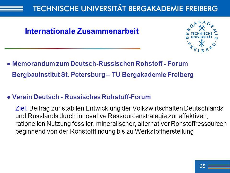 35 Internationale Zusammenarbeit Memorandum zum Deutsch-Russischen Rohstoff - Forum Bergbauinstitut St. Petersburg – TU Bergakademie Freiberg Verein D