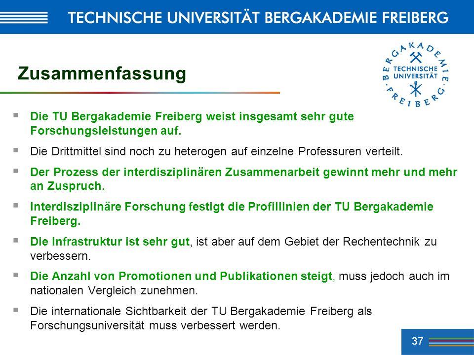 37 Zusammenfassung Die TU Bergakademie Freiberg weist insgesamt sehr gute Forschungsleistungen auf. Die Drittmittel sind noch zu heterogen auf einzeln
