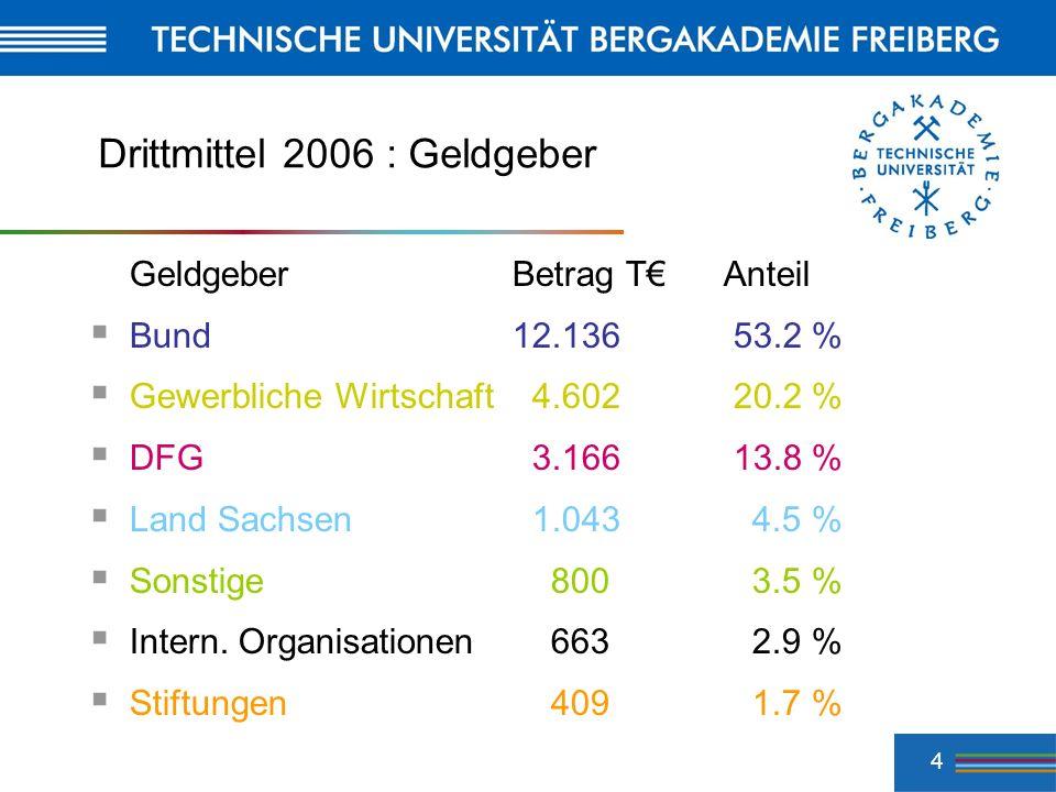 4 Drittmittel 2006 : Geldgeber GeldgeberBetrag TAnteil Bund 12.136 53.2 % Gewerbliche Wirtschaft 4.602 20.2 % DFG 3.166 13.8 % Land Sachsen 1.043 4.5