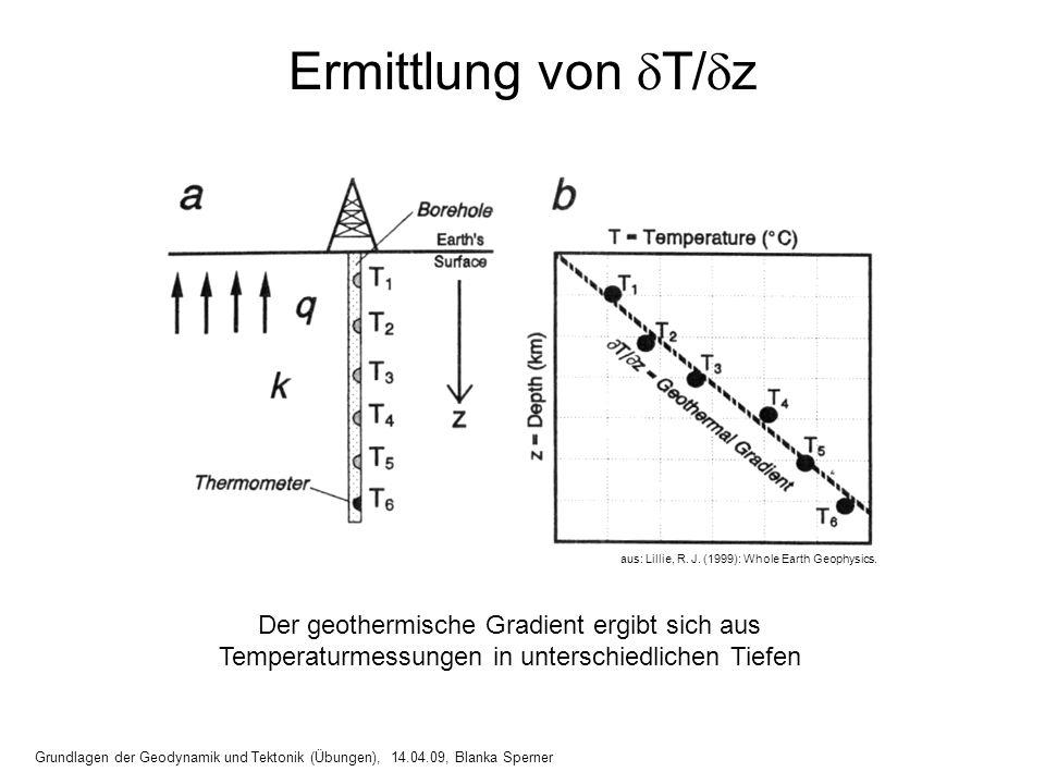 13 Ermittlung von T/ z Grundlagen der Geodynamik und Tektonik (Übungen), 14.04.09, Blanka Sperner aus: Lillie, R. J. (1999): Whole Earth Geophysics. D