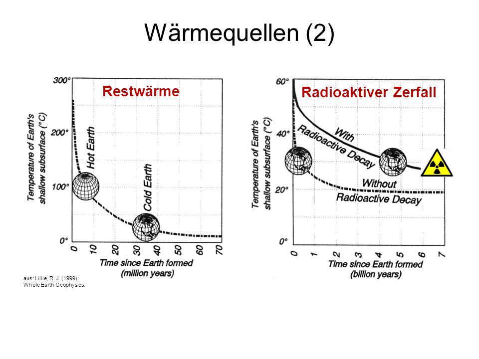 4 Wärmequellen (2) Restwärme Radioaktiver Zerfall aus: Lillie, R. J. (1999): Whole Earth Geophysics.