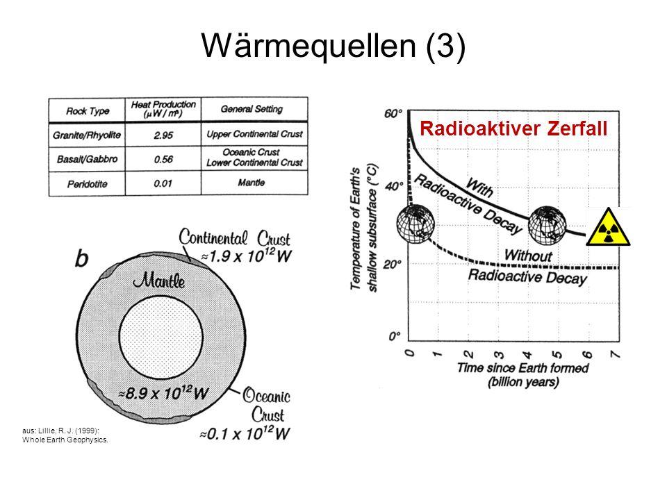 6 Wärmequellen (4) Restwärme: Erde10 x 10 12 W25% Gesamt42 x 10 12 W100% aus: Lillie, R.
