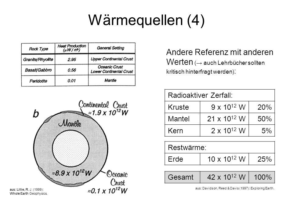 6 Wärmequellen (4) Restwärme: Erde10 x 10 12 W25% Gesamt42 x 10 12 W100% aus: Lillie, R. J. (1999): Whole Earth Geophysics. aus: Davidson, Reed & Davi