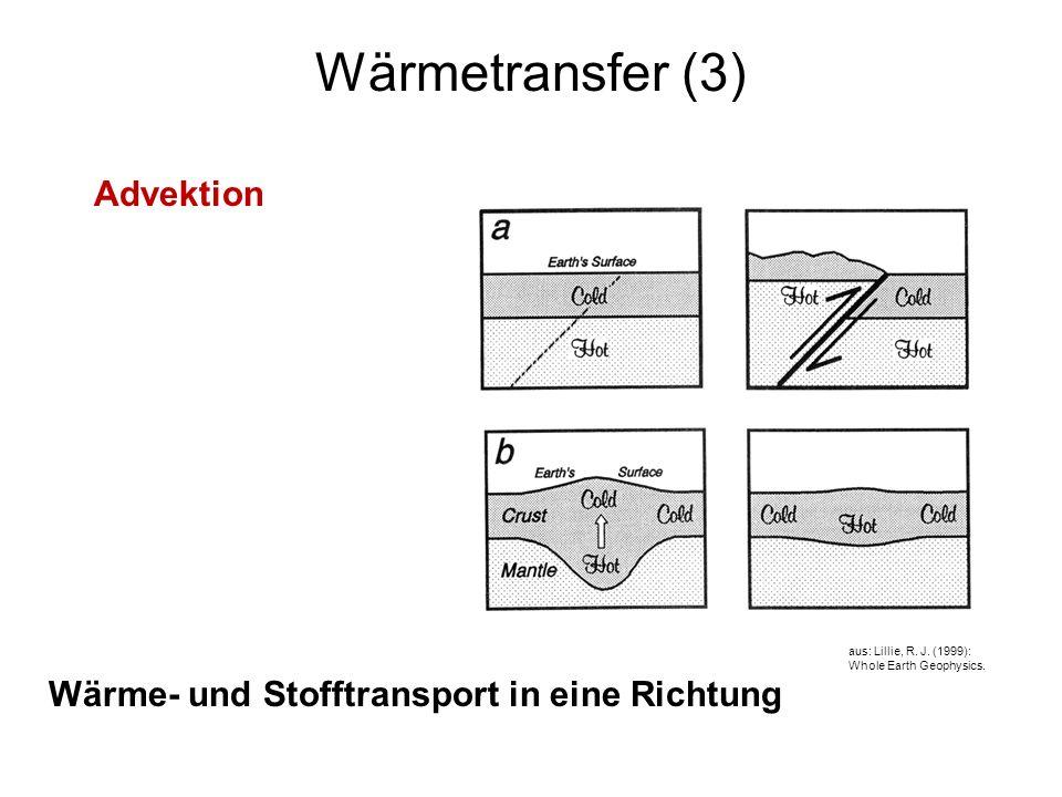 9 Wärmetransfer (3) Advektion aus: Lillie, R. J. (1999): Whole Earth Geophysics. Wärme- und Stofftransport in eine Richtung