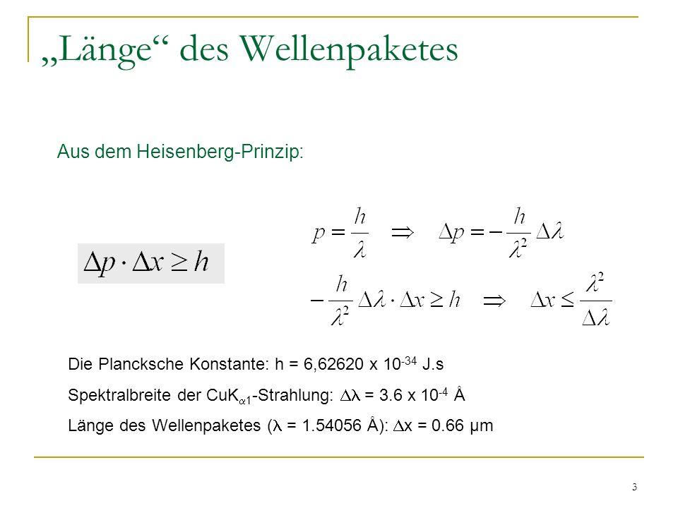 3 Länge des Wellenpaketes Aus dem Heisenberg-Prinzip: Die Plancksche Konstante: h = 6,62620 x 10 -34 J.s Spektralbreite der CuK 1 -Strahlung: = 3.6 x 10 -4 Å Länge des Wellenpaketes ( = 1.54056 Å): x = 0.66 µm