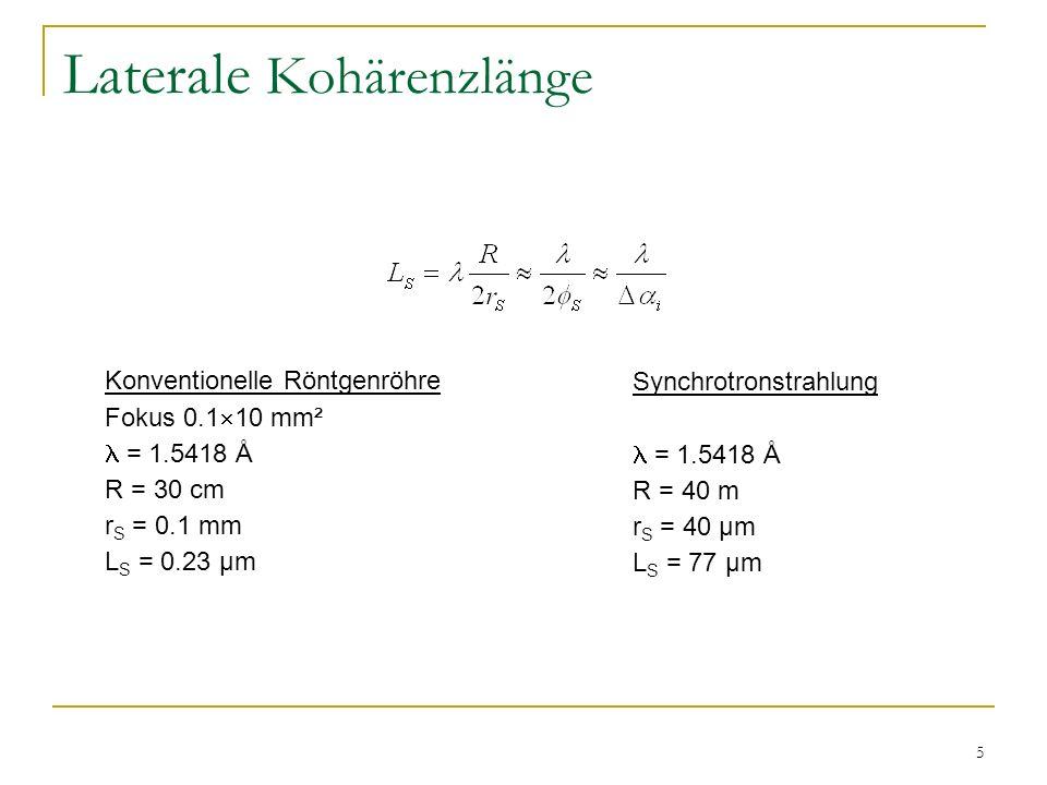 5 Laterale Kohärenzlänge Konventionelle Röntgenröhre Fokus 0.1 10 mm² = 1.5418 Å R = 30 cm r S = 0.1 mm L S = 0.23 µm Synchrotronstrahlung = 1.5418 Å R = 40 m r S = 40 µm L S = 77 µm