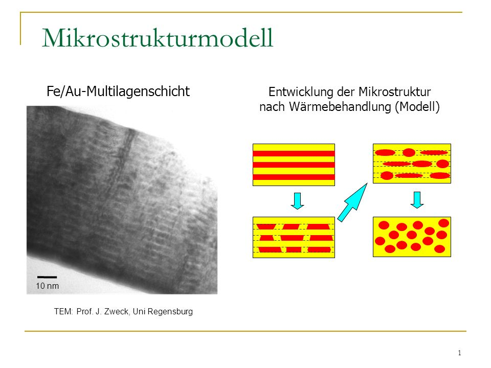 1 Mikrostrukturmodell Fe/Au-Multilagenschicht TEM: Prof. J. Zweck, Uni Regensburg Entwicklung der Mikrostruktur nach Wärmebehandlung (Modell) 10 nm