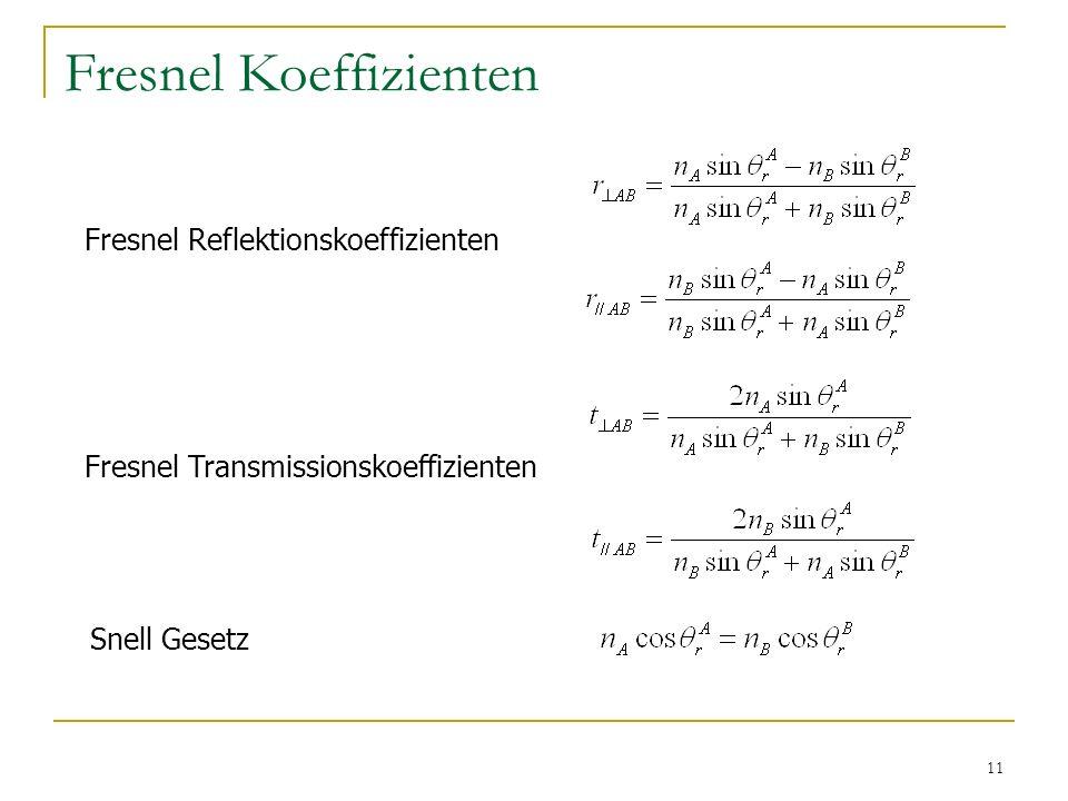 11 Fresnel Koeffizienten Fresnel Reflektionskoeffizienten Fresnel Transmissionskoeffizienten Snell Gesetz