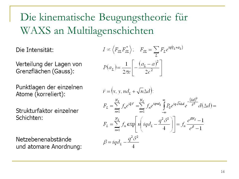 16 Die kinematische Beugungstheorie für WAXS an Multilagenschichten Die Intensität: Verteilung der Lagen von Grenzflächen (Gauss): Punktlagen der einz