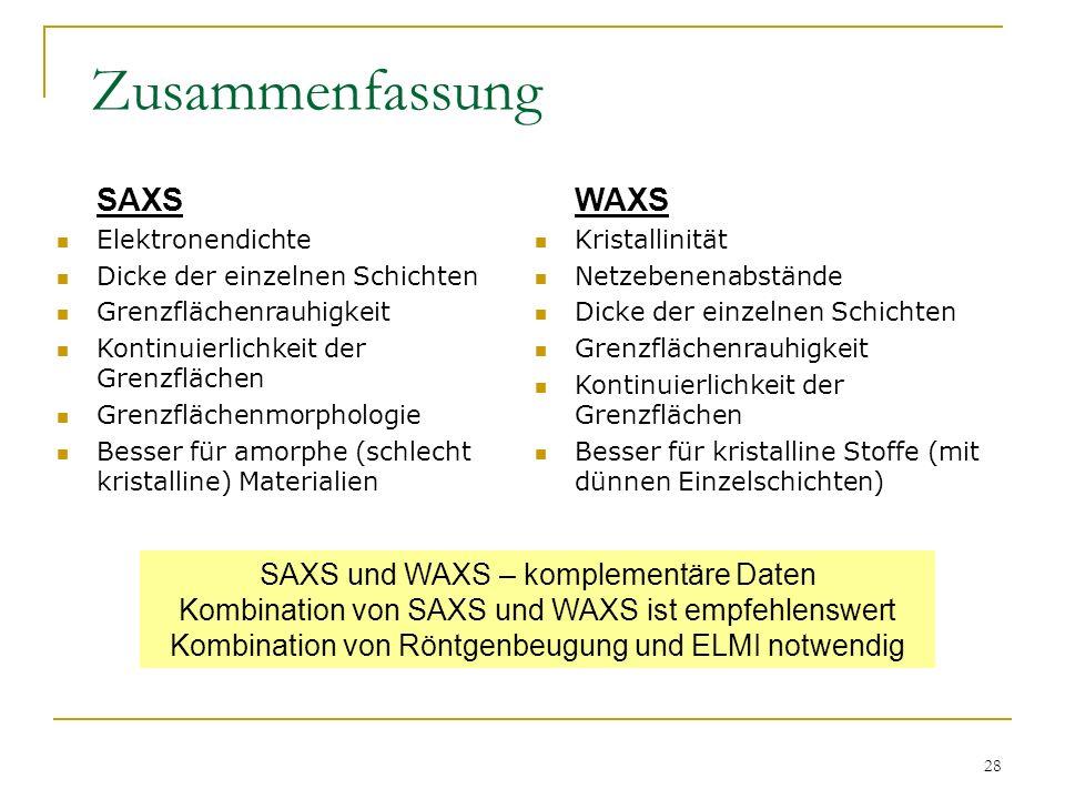 28 Zusammenfassung WAXS Kristallinität Netzebenenabstände Dicke der einzelnen Schichten Grenzflächenrauhigkeit Kontinuierlichkeit der Grenzflächen Bes