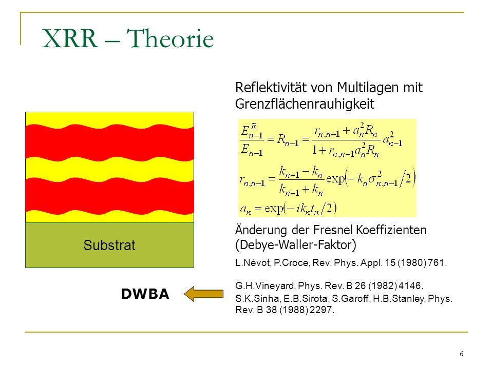 6 XRR – Theorie Substrat Änderung der Fresnel Koeffizienten (Debye-Waller-Faktor) Reflektivität von Multilagen mit Grenzflächenrauhigkeit L.Névot, P.C