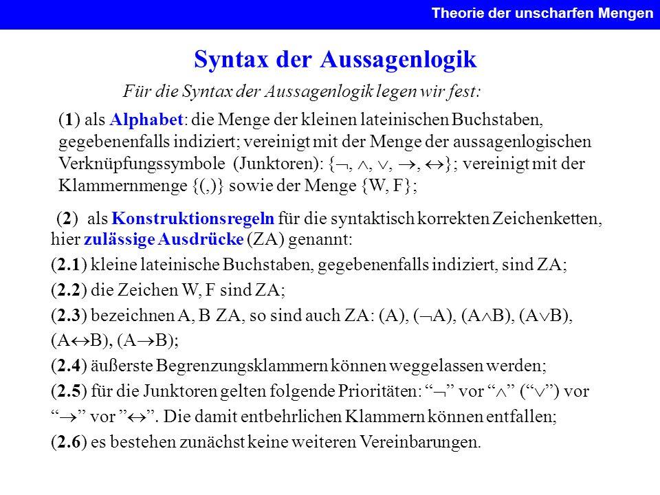 Syntax der Aussagenlogik Für die Syntax der Aussagenlogik legen wir fest: (1) als Alphabet: die Menge der kleinen lateinischen Buchstaben, gegebenenfa