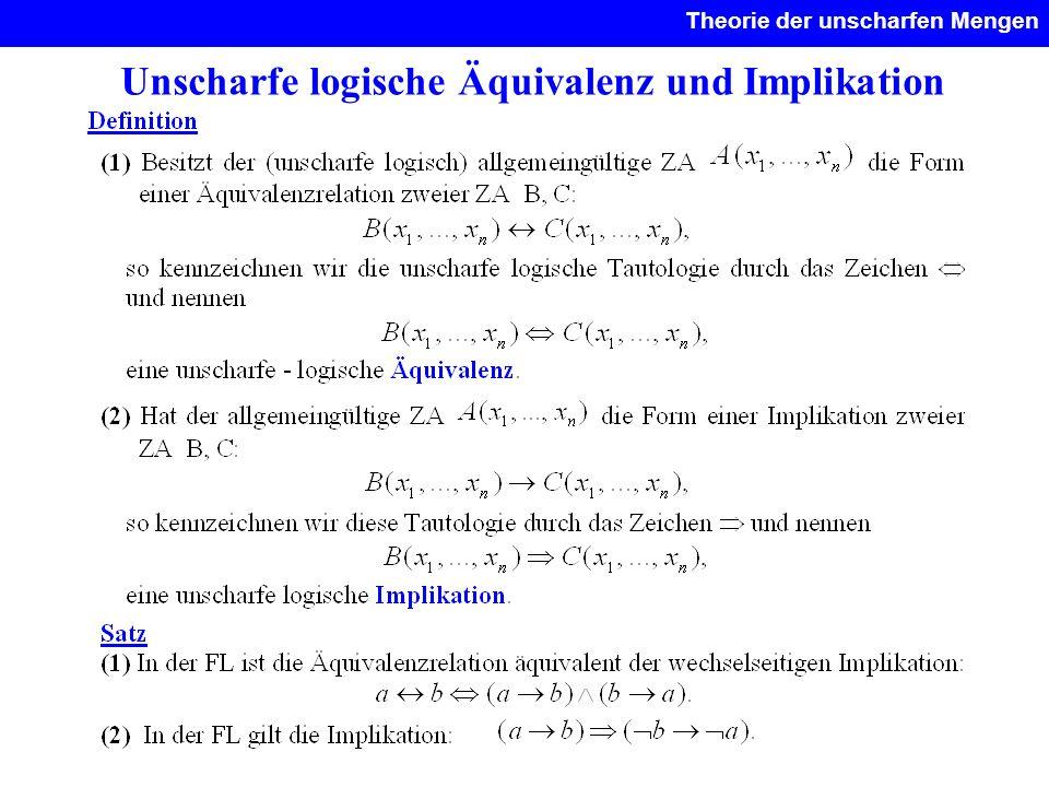 Unscharfe logische Äquivalenz und Implikation Theorie der unscharfen Mengen.