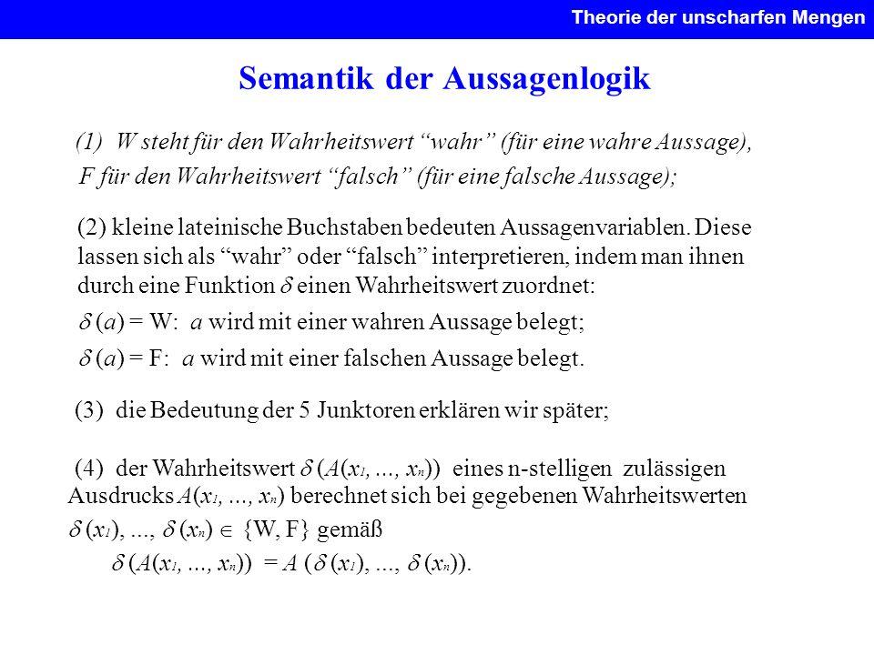 Semantik der Aussagenlogik (1) W steht für den Wahrheitswert wahr (für eine wahre Aussage), F für den Wahrheitswert falsch (für eine falsche Aussage);