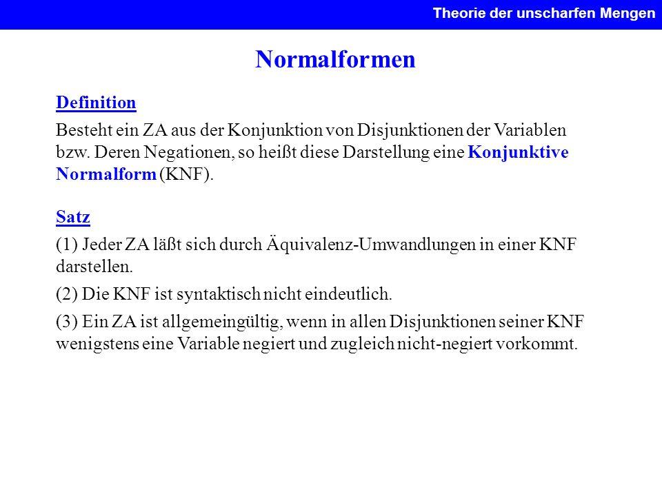Normalformen Definition Besteht ein ZA aus der Konjunktion von Disjunktionen der Variablen bzw. Deren Negationen, so heißt diese Darstellung eine Konj