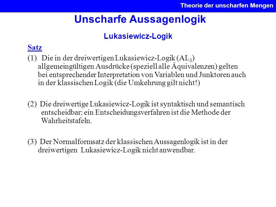 Unscharfe Aussagenlogik Theorie der unscharfen Mengen. Lukasiewicz-Logik Satz (1) Die in der dreiwertigen Lukasiewicz-Logik (AL 3 ) allgemeingültigen