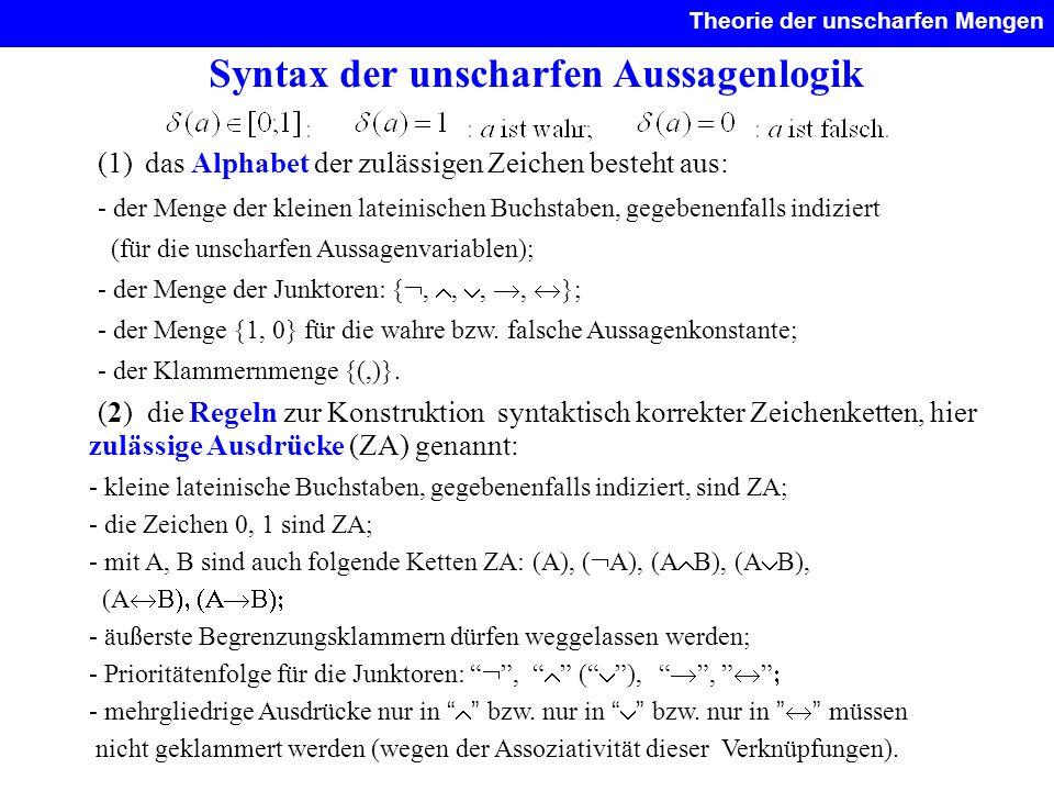 Syntax der unscharfen Aussagenlogik Theorie der unscharfen Mengen. (1) das Alphabet der zulässigen Zeichen besteht aus: - der Menge der kleinen latein