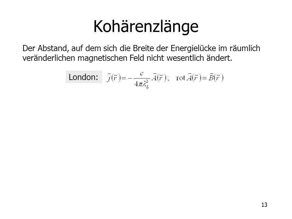 13 Kohärenzlänge Der Abstand, auf dem sich die Breite der Energielücke im räumlich veränderlichen magnetischen Feld nicht wesentlich ändert. London: