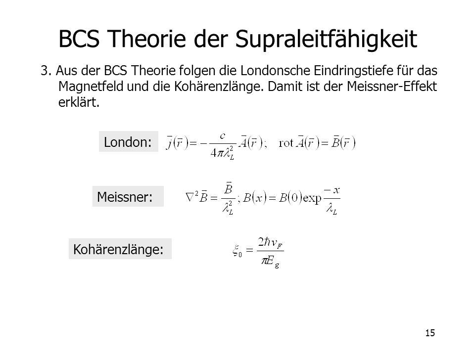 15 BCS Theorie der Supraleitfähigkeit 3. Aus der BCS Theorie folgen die Londonsche Eindringstiefe für das Magnetfeld und die Kohärenzlänge. Damit ist