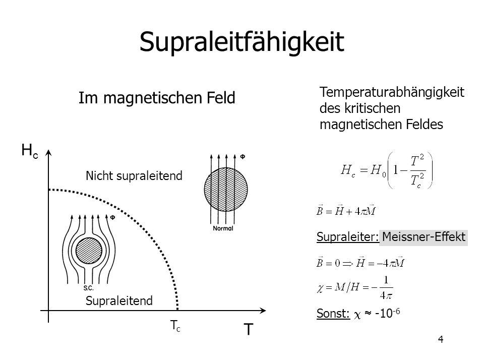 4 Supraleitfähigkeit Im magnetischen Feld T HcHc Nicht supraleitend Supraleitend TcTc Temperaturabhängigkeit des kritischen magnetischen Feldes Supral