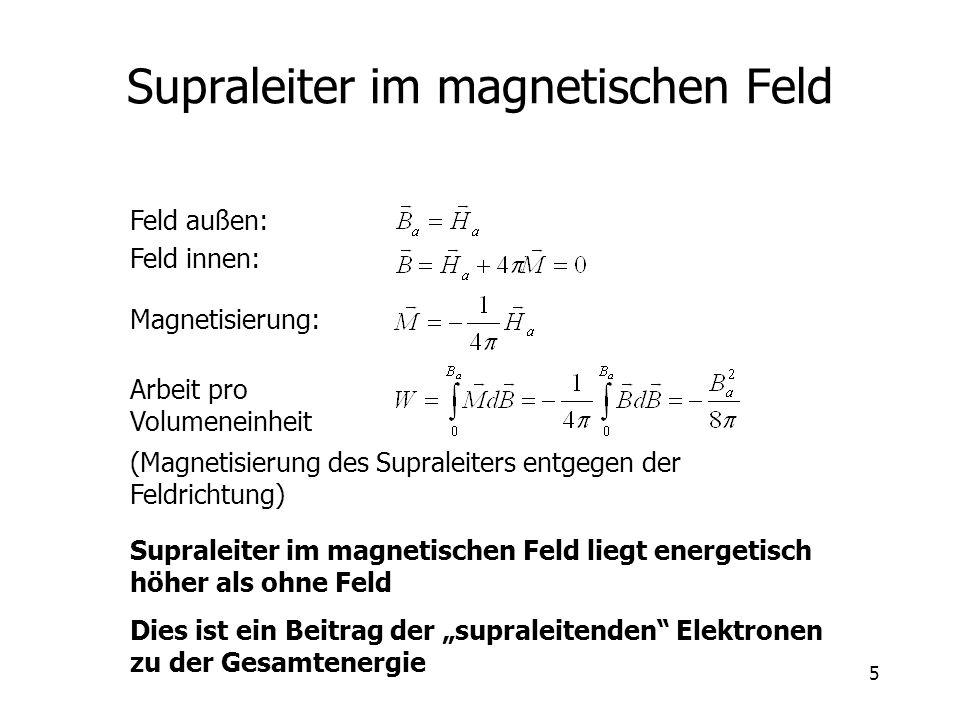 5 Supraleiter im magnetischen Feld Feld außen: Feld innen: Magnetisierung: Arbeit pro Volumeneinheit (Magnetisierung des Supraleiters entgegen der Fel