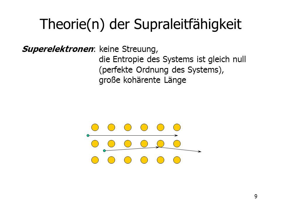 9 Theorie(n) der Supraleitfähigkeit Superelektronen: keine Streuung, die Entropie des Systems ist gleich null (perfekte Ordnung des Systems), große ko