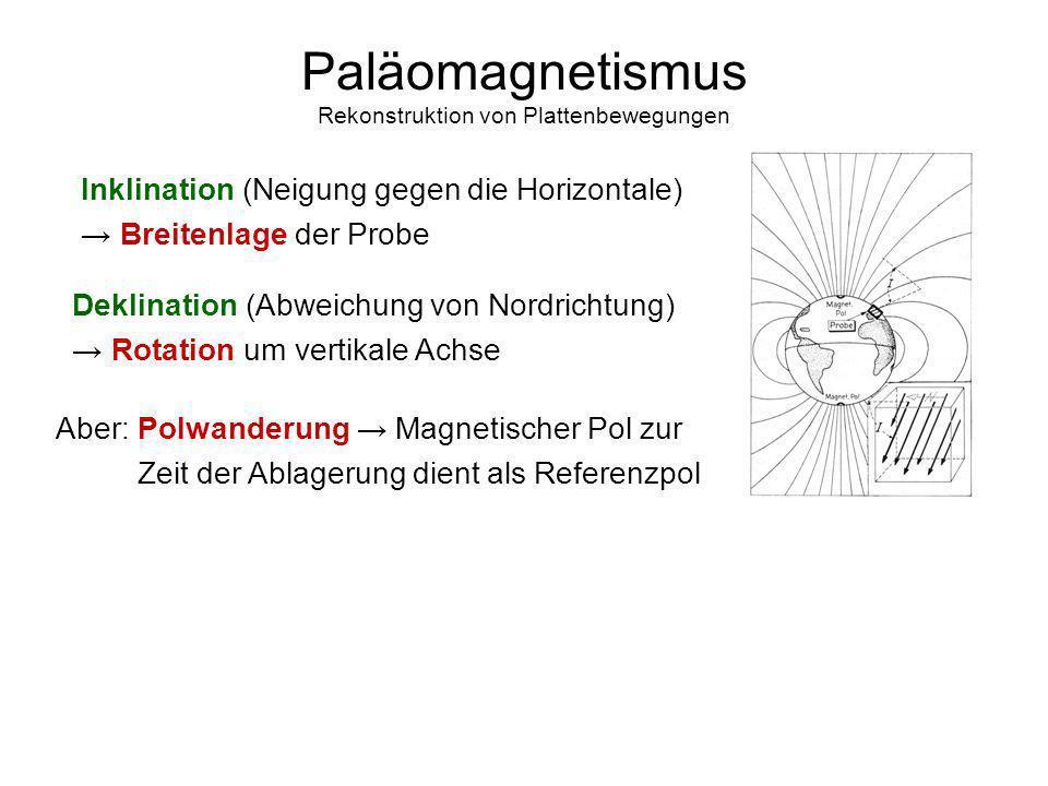 15 Paläomagnetismus Rekonstruktion von Plattenbewegungen Inklination (Neigung gegen die Horizontale) Breitenlage der Probe Deklination (Abweichung von