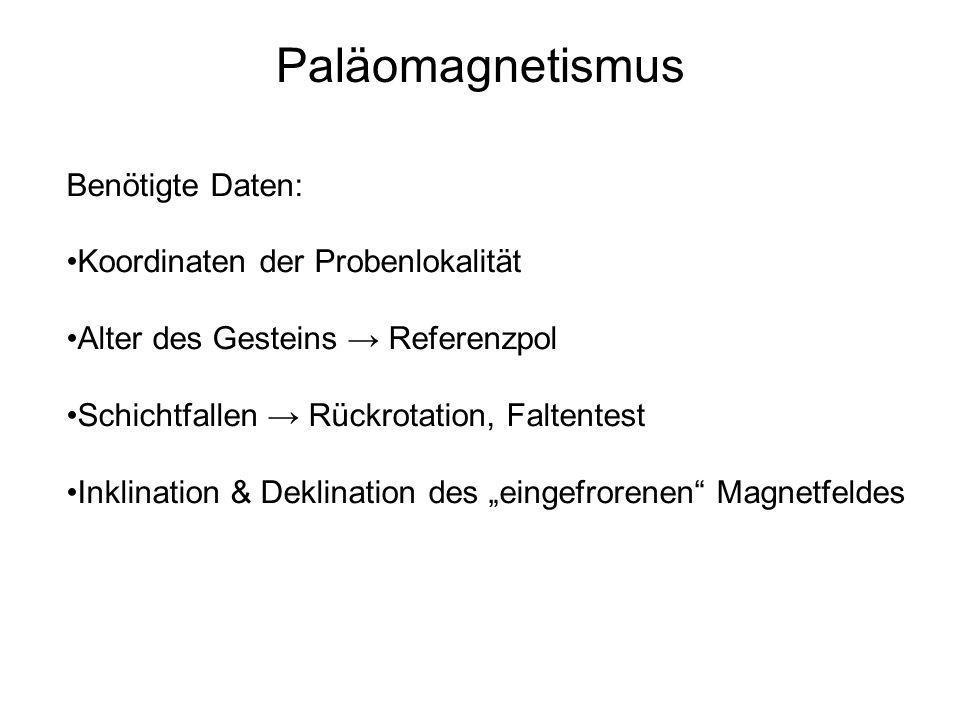 Paläomagnetismus Benötigte Daten: Koordinaten der Probenlokalität Alter des Gesteins Referenzpol Schichtfallen Rückrotation, Faltentest Inklination &