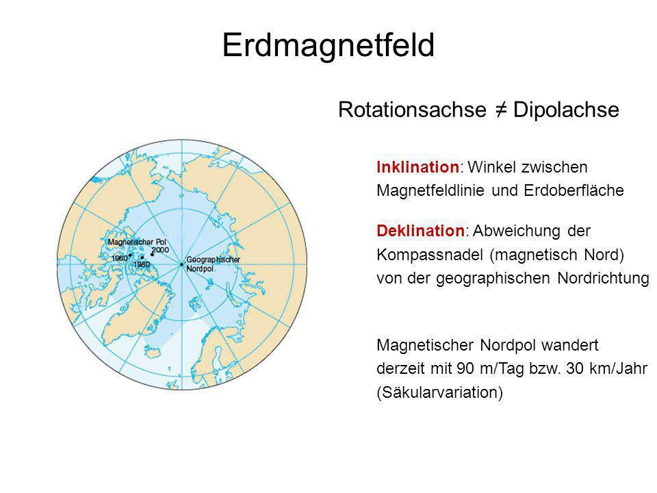 15 Paläomagnetismus Rekonstruktion von Plattenbewegungen Inklination (Neigung gegen die Horizontale) Breitenlage der Probe Deklination (Abweichung von Nordrichtung) Rotation um vertikale Achse Aber: Polwanderung Magnetischer Pol zur Zeit der Ablagerung dient als Referenzpol