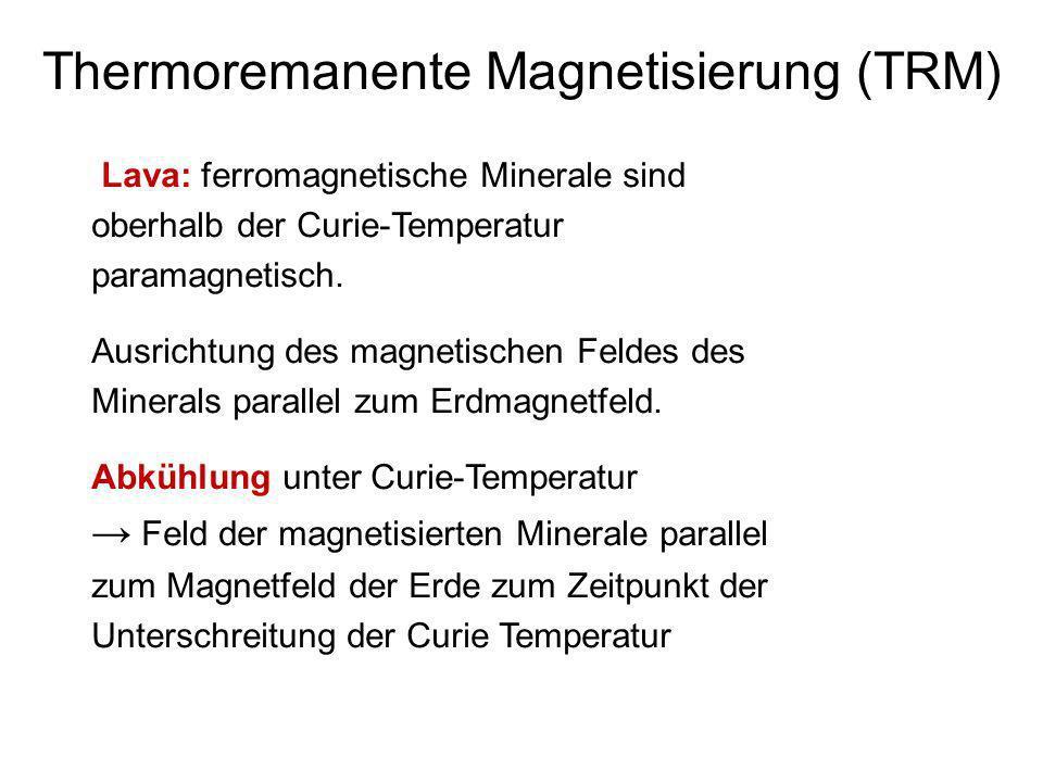Thermoremanente Magnetisierung (TRM) Lava: ferromagnetische Minerale sind oberhalb der Curie-Temperatur paramagnetisch. Ausrichtung des magnetischen F