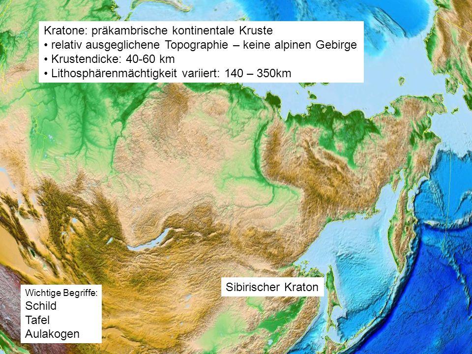 Kratone: präkambrische kontinentale Kruste relativ ausgeglichene Topographie – keine alpinen Gebirge Krustendicke: 40-60 km Lithosphärenmächtigkeit va