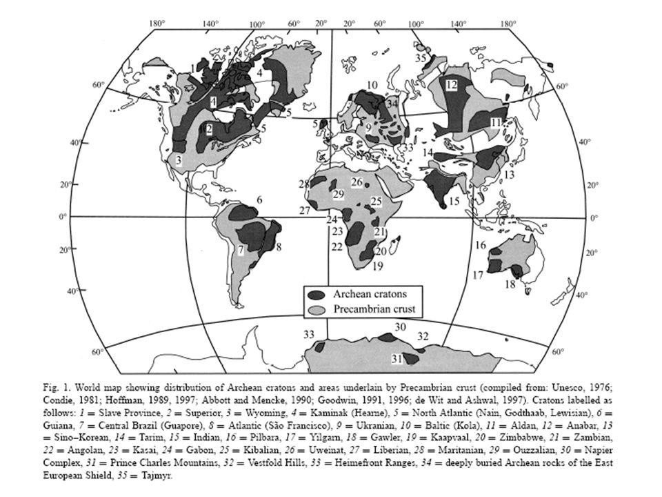 Präkambrium 4,56 Ga – 0,542 Ga Differentiation der frühen Erde (metallischer Kern, silikatischer Mantel & Kruste): 4,551 Ga Intensives Meteoritenbombardement (bei 3,8 Ga: 15fach; 3,0 Ga: 2fach in Relation zu heute) Kruste: älteste Zirkone in Metasedimenten (Yilgarn Kraton, West Australien): 4,4 – 4,3 Ga Älteste bekannte Gesteine: Granitgneis (Acasta Gneis Provinz, Kanada): 4,03 Ga Pillow Basalte submariner Vulkanismus (Isua Greenstone Belt): 3,8 – 3,7 Ga Archaikum: 4,56 – 2,5 Ga Proterozoikum: 2,5, - 0,542 Ga Phanerozoikum: 542 Ma - 0