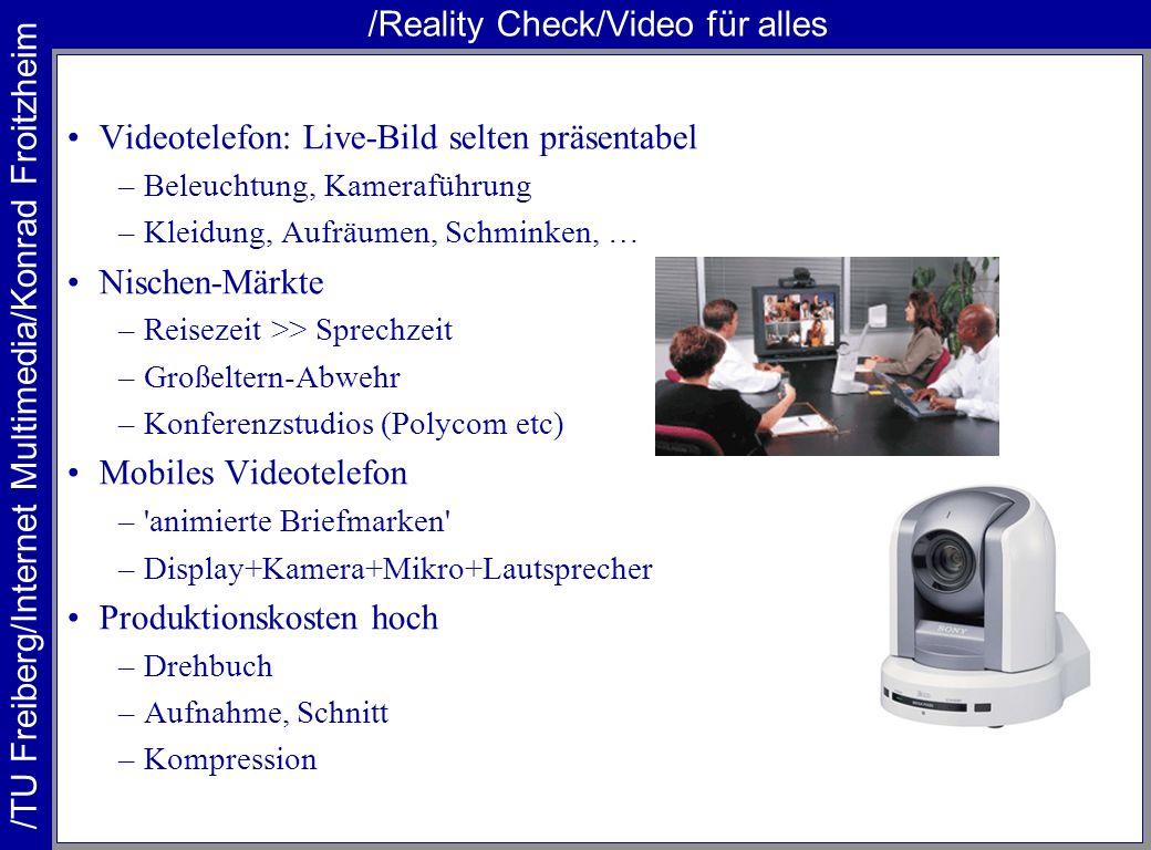 /TU Freiberg/Internet Multimedia/Konrad Froitzheim /Reality Check/Video für alles Videotelefon: Live-Bild selten präsentabel –Beleuchtung, Kameraführu