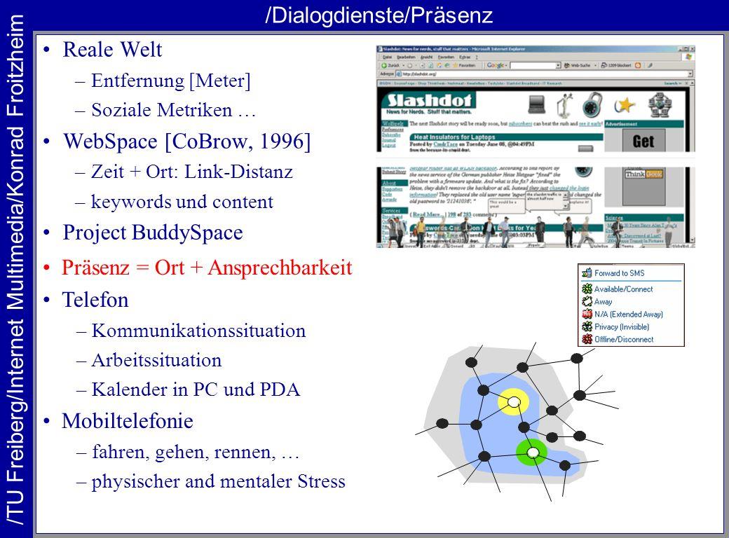 /TU Freiberg/Internet Multimedia/Konrad Froitzheim /Dialogdienste/Präsenz Reale Welt –Entfernung [Meter] –Soziale Metriken … WebSpace [CoBrow, 1996] –
