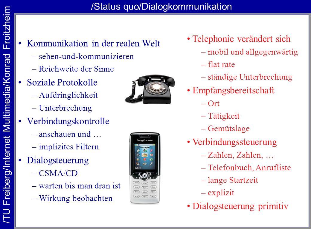 /TU Freiberg/Internet Multimedia/Konrad Froitzheim /Status quo/Dialogkommunikation Kommunikation in der realen Welt –sehen-und-kommunizieren –Reichwei