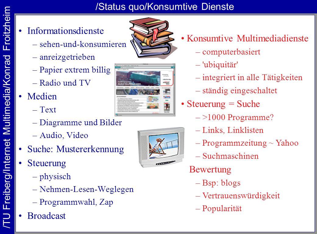 /TU Freiberg/Internet Multimedia/Konrad Froitzheim /Status quo/Konsumtive Dienste Informationsdienste –sehen-und-konsumieren –anreizgetrieben –Papier