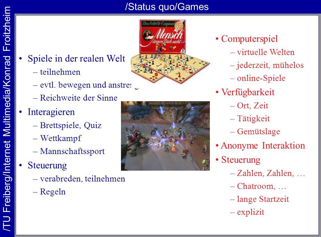 /TU Freiberg/Internet Multimedia/Konrad Froitzheim /Status quo/Games Spiele in der realen Welt –teilnehmen –evtl. bewegen und anstrengen –Reichweite d