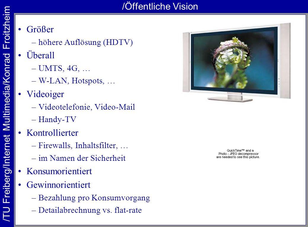 /TU Freiberg/Internet Multimedia/Konrad Froitzheim /Öffentliche Vision Größer –höhere Auflösung (HDTV) Überall –UMTS, 4G, … –W-LAN, Hotspots, … Videoi