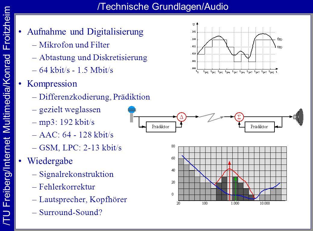 /TU Freiberg/Internet Multimedia/Konrad Froitzheim /Technische Grundlagen/Video Aufnahme –Kamera, Beleuchtung kritisch Digitalisierung –CCD-Chips mit hoher Auflösung und Rate möglich –Grenzen der Miniaturisierung: Verstärkung und Rauschen –ITU601: 720*625*24*50/2 [Bit/s] ~ 270 MBit/s –HDTV: 1920*1080*24*24 [Bit/s] ~ 1,2 GBit/s Kompression –Transformation –Verlust akzeptieren –nur Differenzen kodieren –JPEG, MPEG-1/2/4 –ITU-601: 2-4 Mbit/s, HDTV: 17-20 MBit/s –Objekte identifizieren und Szenen zerlegen Wiedergabe –Bildschirm oder Projektion