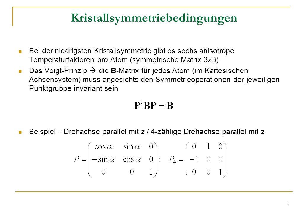18 Quantitative Phasenanalyse Volumenanteil Massenanteil Besetzungsfaktoren Besetzungsfaktoren: N = occupancy / max # of Wyckoff positions