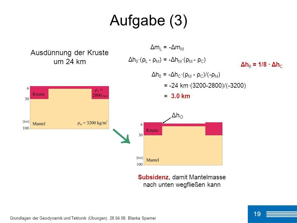 19 Aufgabe (3) Grundlagen der Geodynamik und Tektonik (Übungen), 28.04.08, Blanka Sperner Δm L = -Δm M Δh 0 ·(ρ L - ρ M ) = -Δh M ·(ρ M - ρ C ) Δh 0 = -Δh C ·(ρ M - ρ C )/(-ρ M ) = -24 km·(3200-2800)/(-3200) = 3.0 km Δh 0 = 1/8 · Δh C Subsidenz, damit Mantelmasse nach unten wegfließen kann Ausdünnung der Kruste um 24 km Δh O