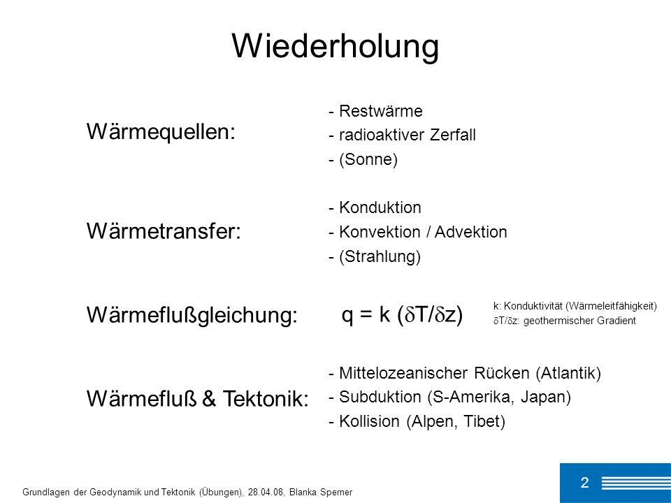 3 Isostasie Grundlagen der Geodynamik und Tektonik (Übungen), 28.04.08, Blanka Sperner