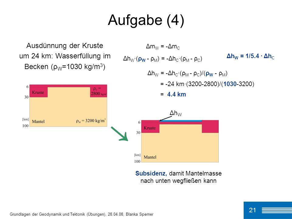 21 Aufgabe (4) Grundlagen der Geodynamik und Tektonik (Übungen), 28.04.08, Blanka Sperner Subsidenz, damit Mantelmasse nach unten wegfließen kann Δm W = -Δm C Δh W ·(ρ W - ρ M ) = -Δh C ·(ρ M - ρ C ) Δh W = -Δh C ·(ρ M - ρ C )/(ρ W - ρ M ) = -24 km·(3200-2800)/(1030-3200) = 4.4 km Δh W = 1/5.4 · Δh C Δh W Ausdünnung der Kruste um 24 km: Wasserfüllung im Becken (ρ W =1030 kg/m 3 )