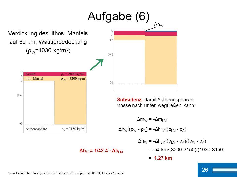 26 Aufgabe (6) Grundlagen der Geodynamik und Tektonik (Übungen), 28.04.08, Blanka Sperner Subsidenz, damit Asthenosphären- masse nach unten wegfließen kann: Δm W = -Δm LM Δh W ·(ρ W - ρ A ) = -Δh LM ·(ρ LM - ρ A ) Δh W = -Δh LM ·(ρ LM - ρ A )/(ρ W - ρ A ) = -54 km·(3200-3150)/(1030-3150) = 1.27 km Δh O = 1/42.4 · Δh LM Δh W Verdickung des lithos.