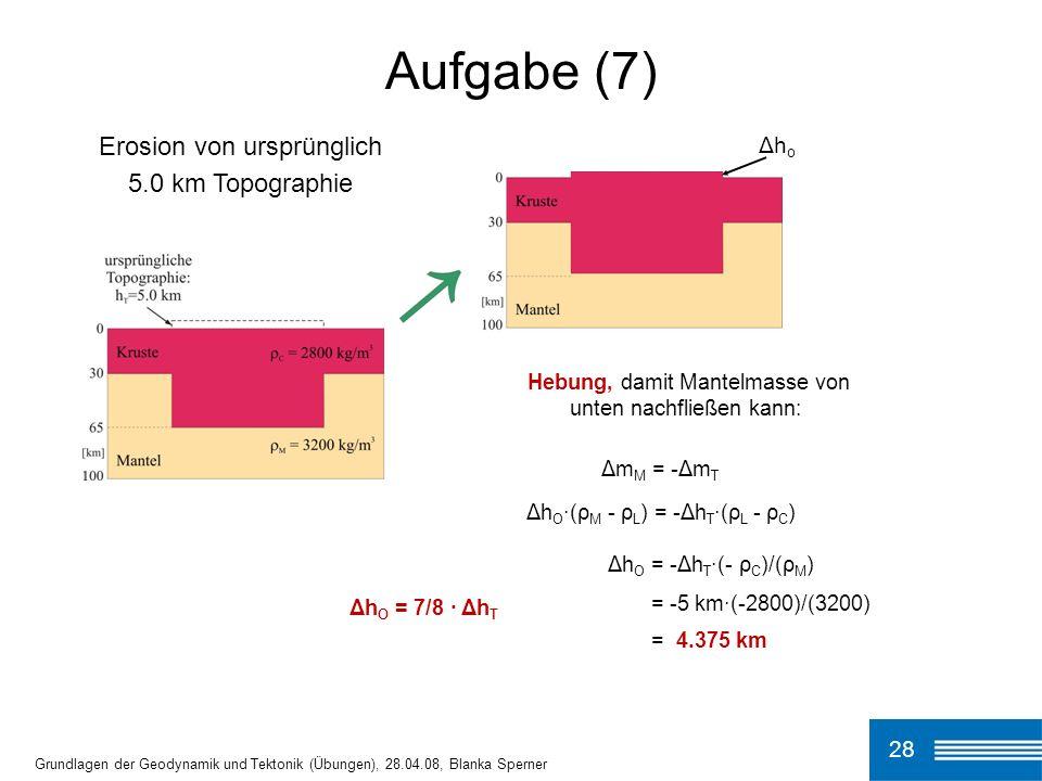 28 Aufgabe (7) Grundlagen der Geodynamik und Tektonik (Übungen), 28.04.08, Blanka Sperner Hebung, damit Mantelmasse von unten nachfließen kann: Δm M = -Δm T Δh O ·(ρ M - ρ L ) = -Δh T ·(ρ L - ρ C ) Δh O = -Δh T ·(- ρ C )/(ρ M ) = -5 km·(-2800)/(3200) = 4.375 km Δh O = 7/8 · Δh T Erosion von ursprünglich 5.0 km Topographie Δh o