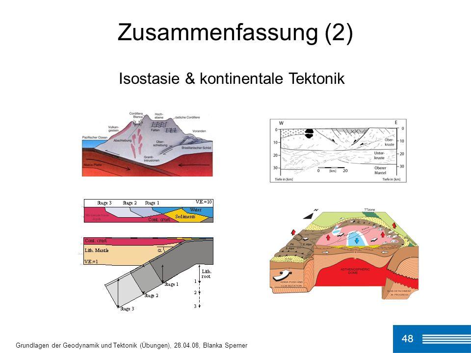 48 Grundlagen der Geodynamik und Tektonik (Übungen), 28.04.08, Blanka Sperner Zusammenfassung (2) Isostasie & kontinentale Tektonik