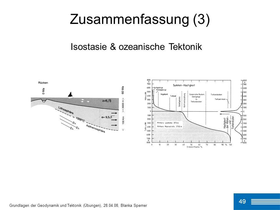 49 Grundlagen der Geodynamik und Tektonik (Übungen), 28.04.08, Blanka Sperner Zusammenfassung (3) Isostasie & ozeanische Tektonik