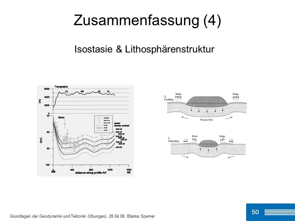 50 Grundlagen der Geodynamik und Tektonik (Übungen), 28.04.08, Blanka Sperner Zusammenfassung (4) Isostasie & Lithosphärenstruktur